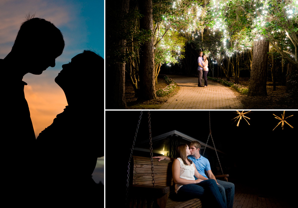 Collage: silhouette; standing under the glimmering string lights at night; sitting on a bench swing at night