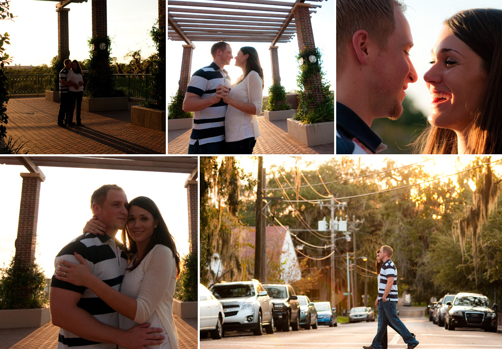 Couple embracing; beauty shots of downtown Tallahassee