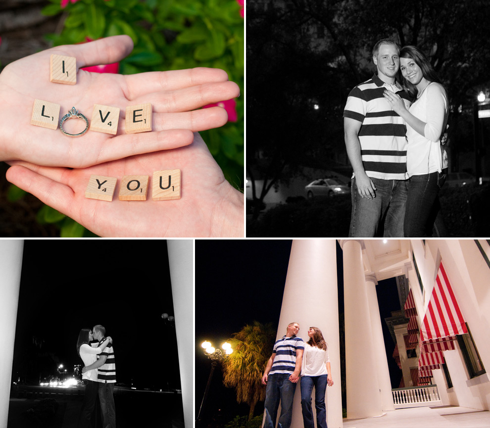 "Using Scrabble letters and an engagement ring to spell out ""I Love You""; posing in downtown; pictures on the porch of the old Capitol building."