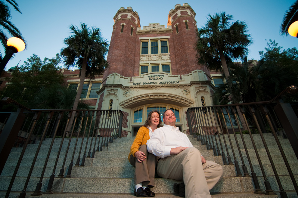 Sitting on the steps leading up to Ruby Diamond Auditorium on the FSU campus