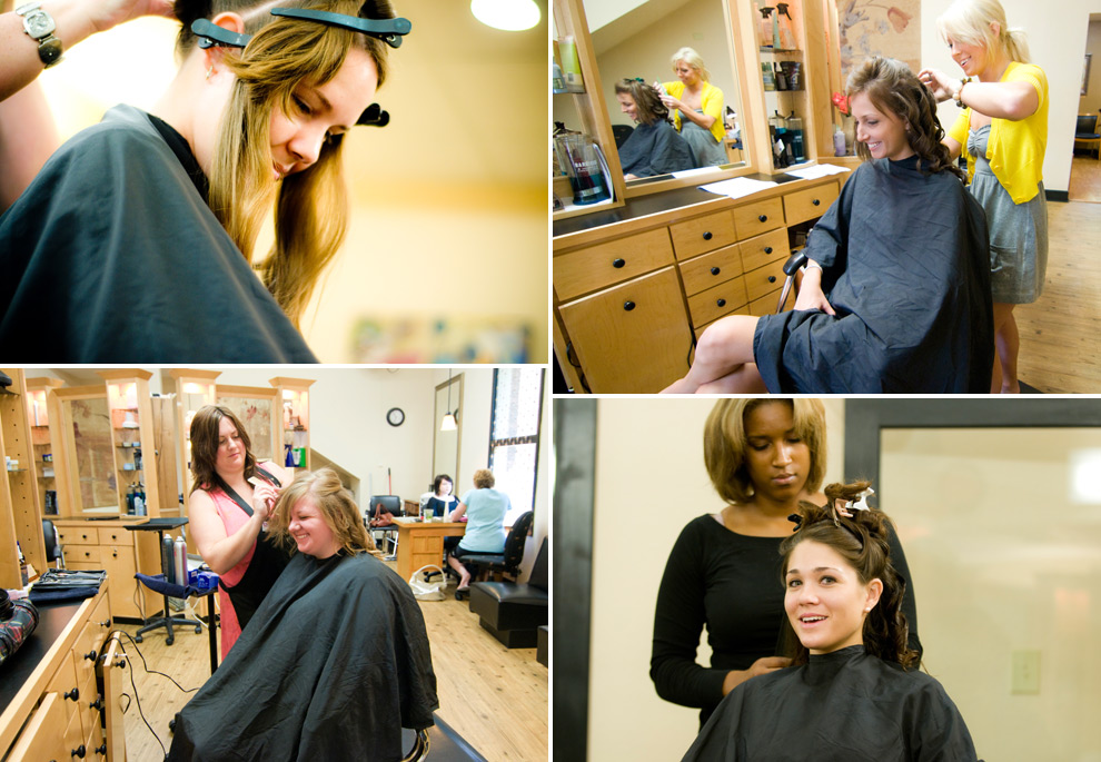Bride and bridesmaids collage while at the salon