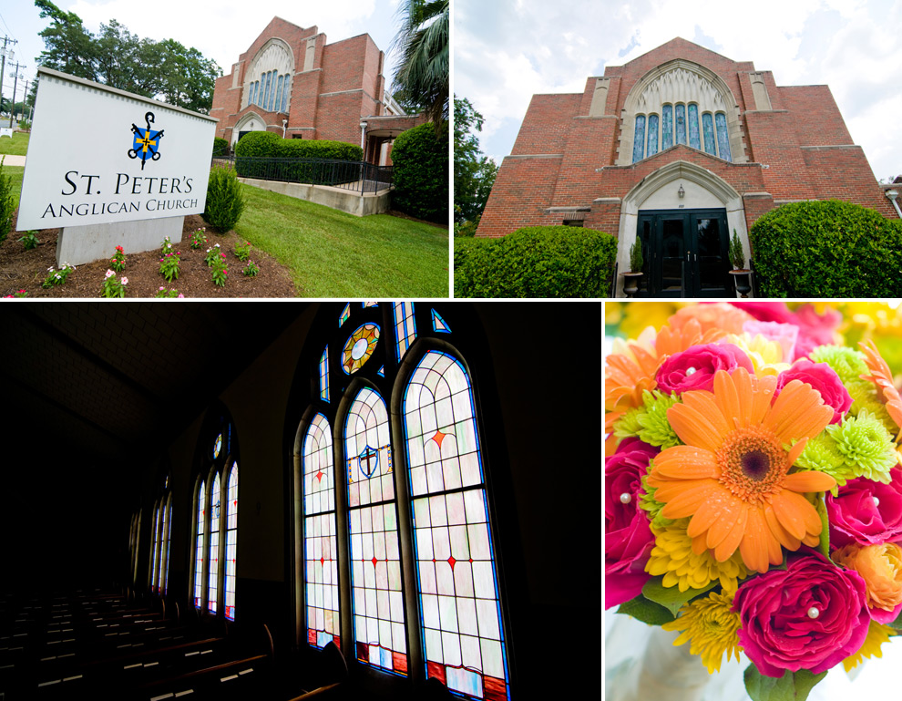 St. Peters Anglican Church in Tallahassee, exterior and interior, stain glass