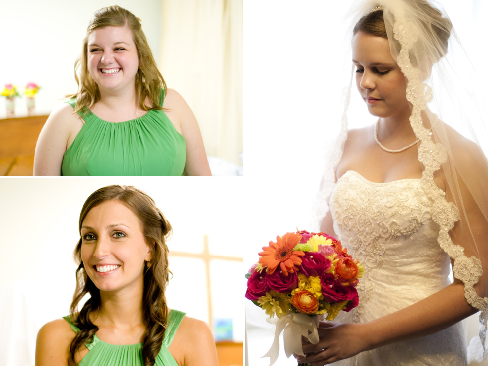Collage of bridesmaids and bride