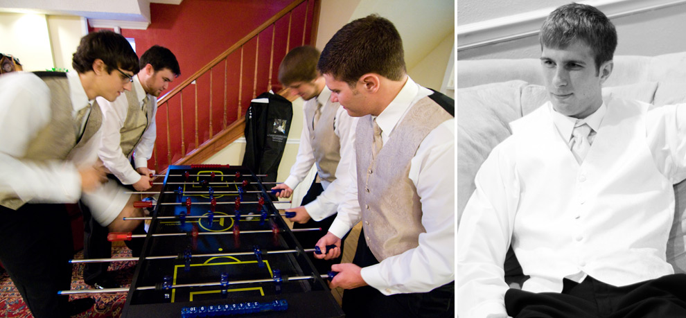 Groomsmen hanging around before wedding, playing foosball