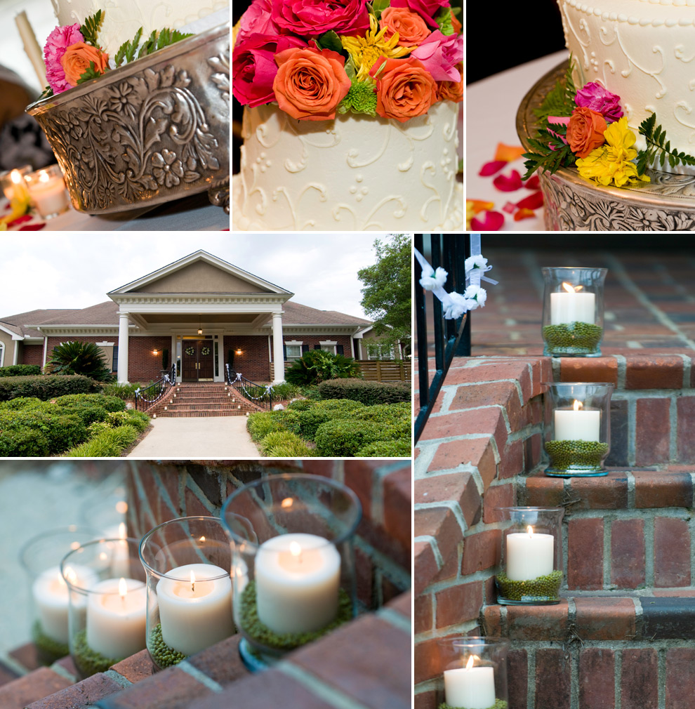 Details at Summerbrooke Golf Club; candles, exterior, wedding cake