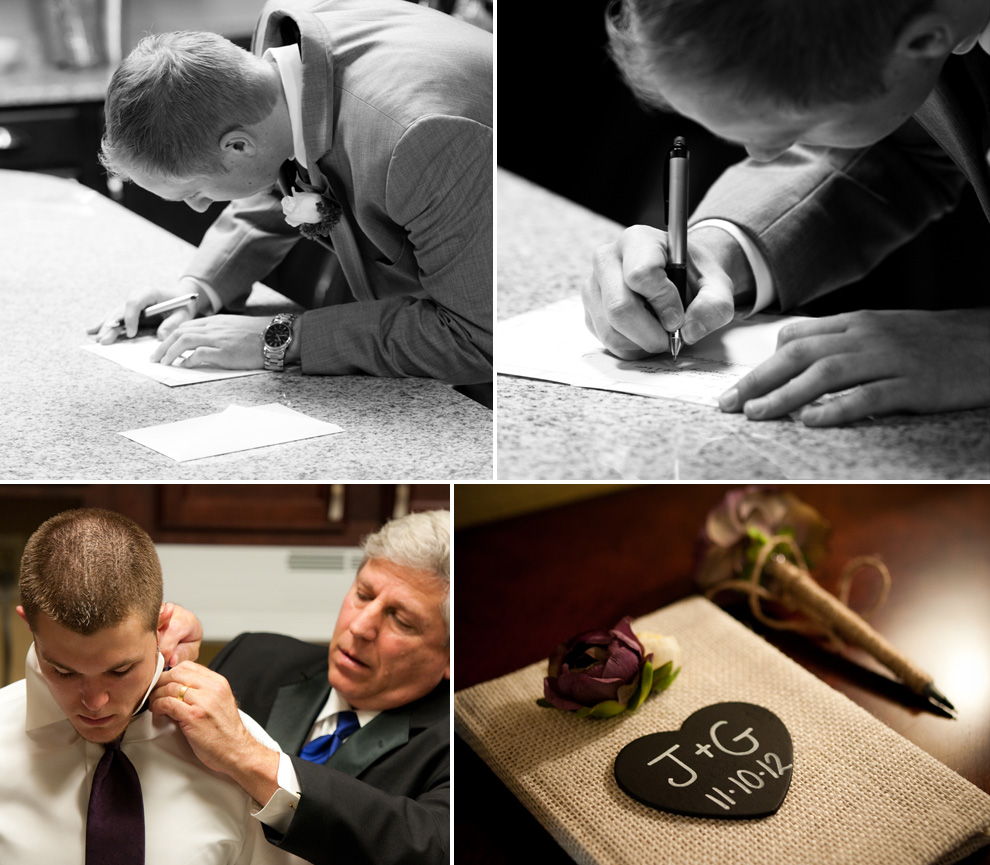 Groom writes a card to his soon-to-be bride; brother-in-law gets some help with his tie; guest book in the lobby waiting to be signed