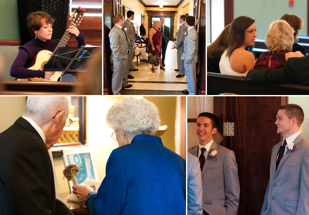 Guest seating collage: guitar player strumming; guests being seated; grandparents signing the guest book