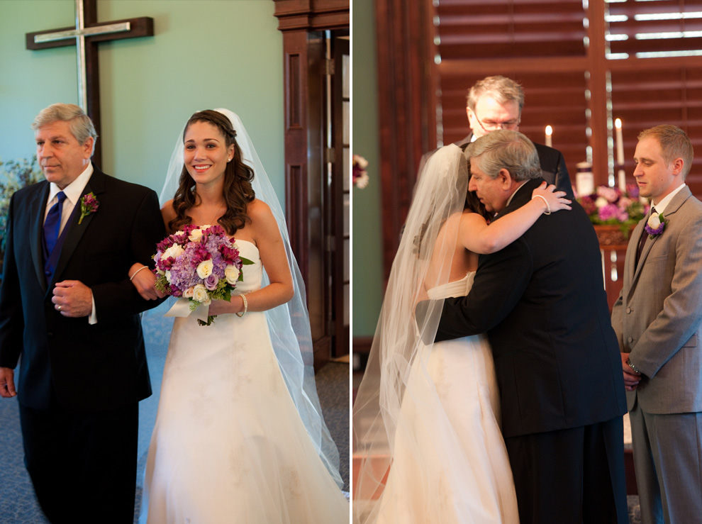 Bride and her dad, walking down the aisle; her father giving her away to the groom