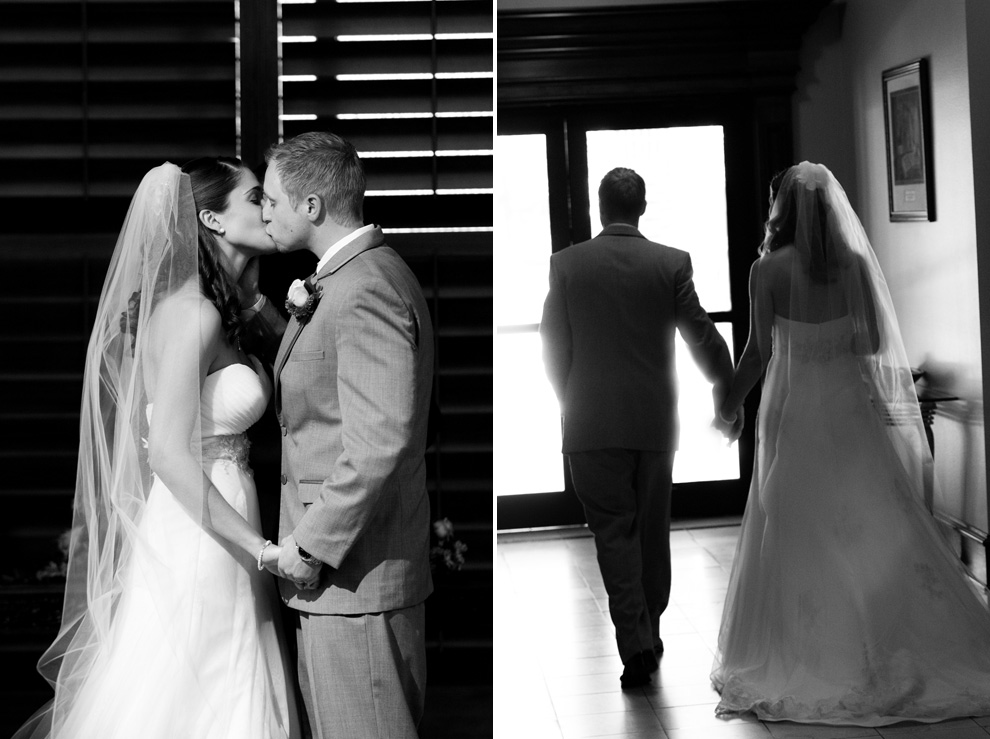 First kiss and walk down the aisle as husband and wife