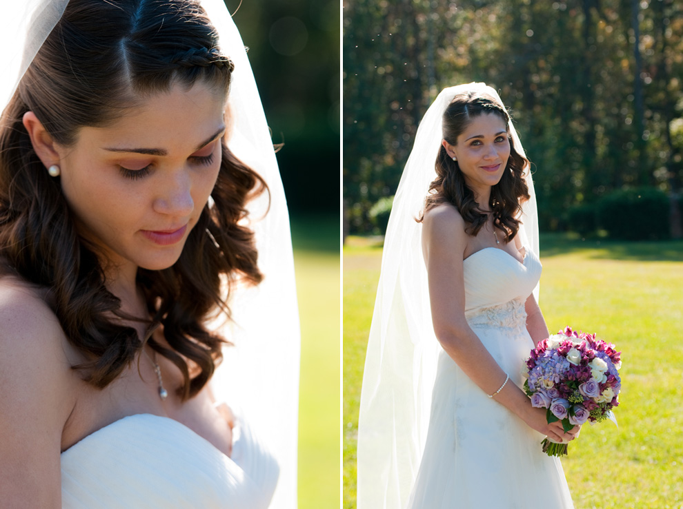 Bridal portraits, outside in the warm sunshine