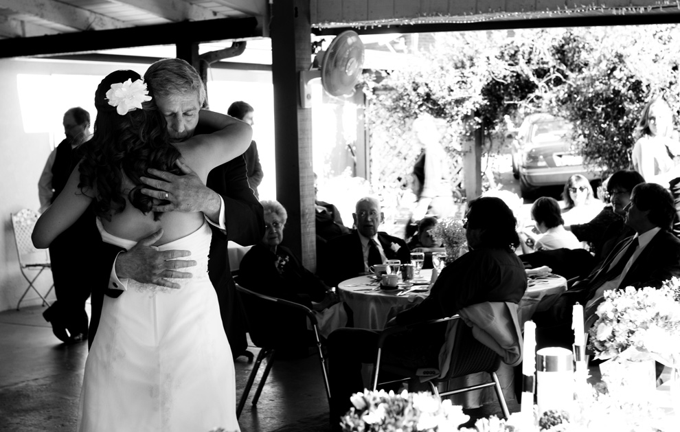 Intimate portrait of the father-daughter dance in black and white