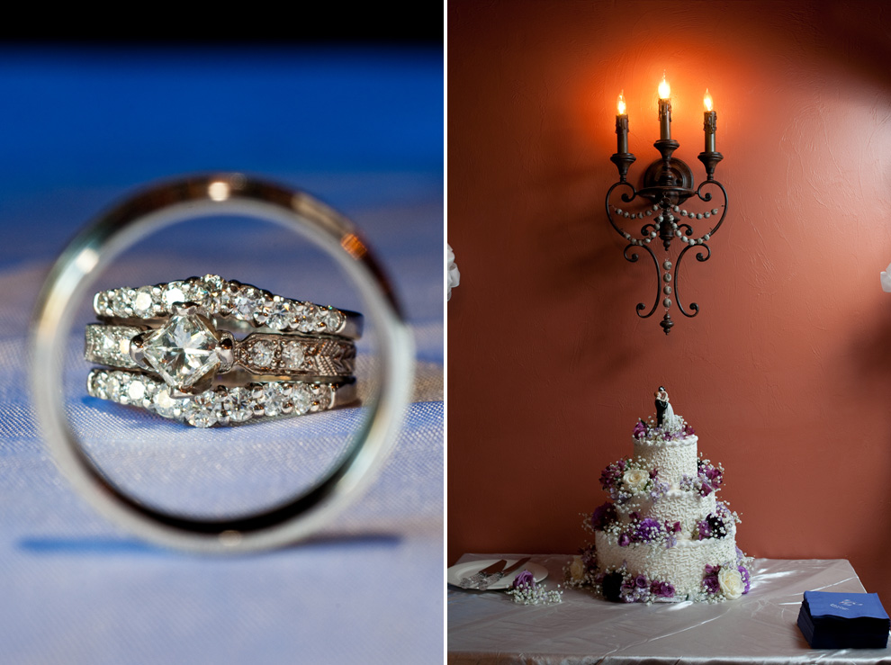 Portrait of the wedding rings and wedding cake