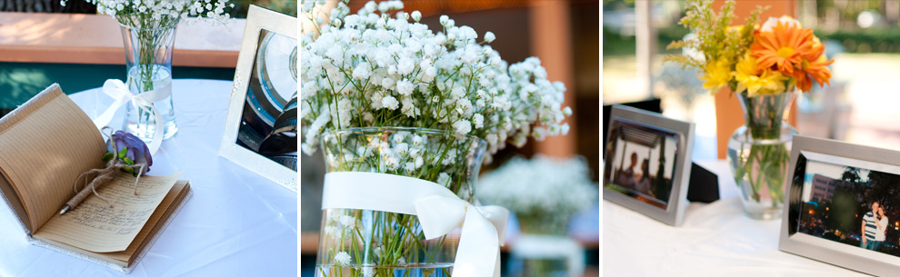 Details of the day: guestbook, baby's breath, engagement photos on display