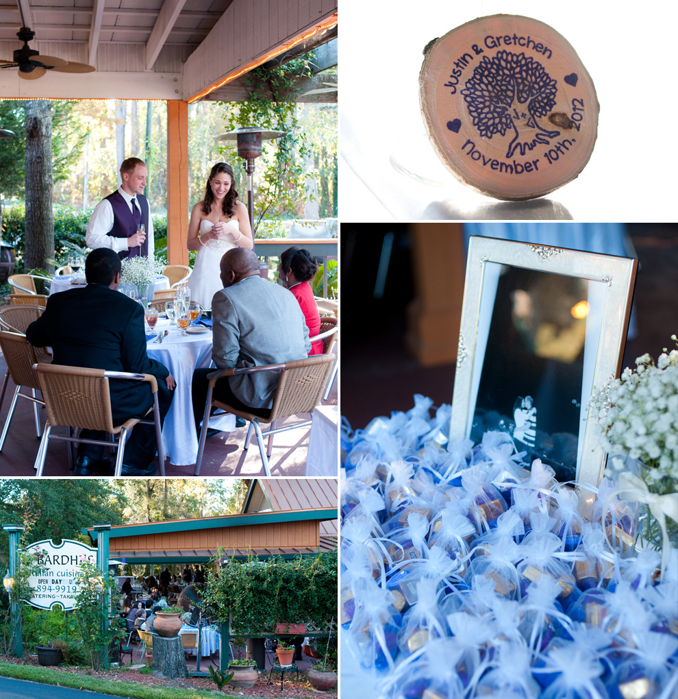 Bride and groom visiting the guest tables; details of the wedding: wood monogrammed disks, bottles of bubbles; exterior of Z. Bardhi's restaurant