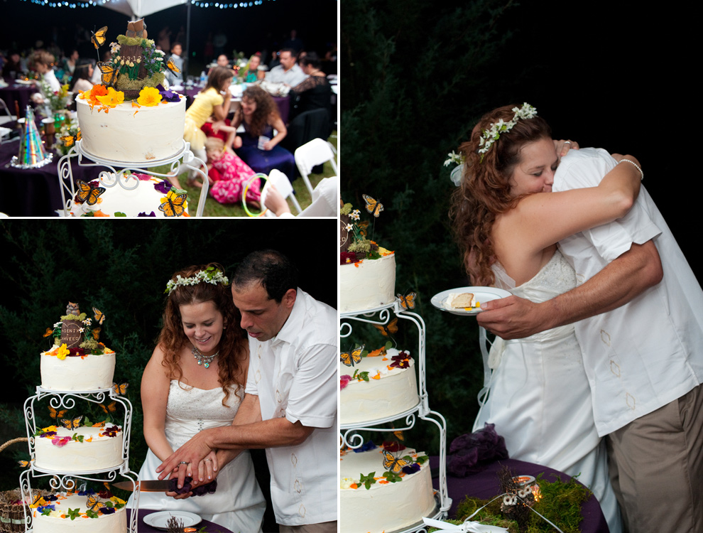 Cake cutting, bride and groom embracing