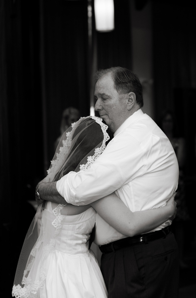 The bride and her father exchange a moment in the father daughter dance