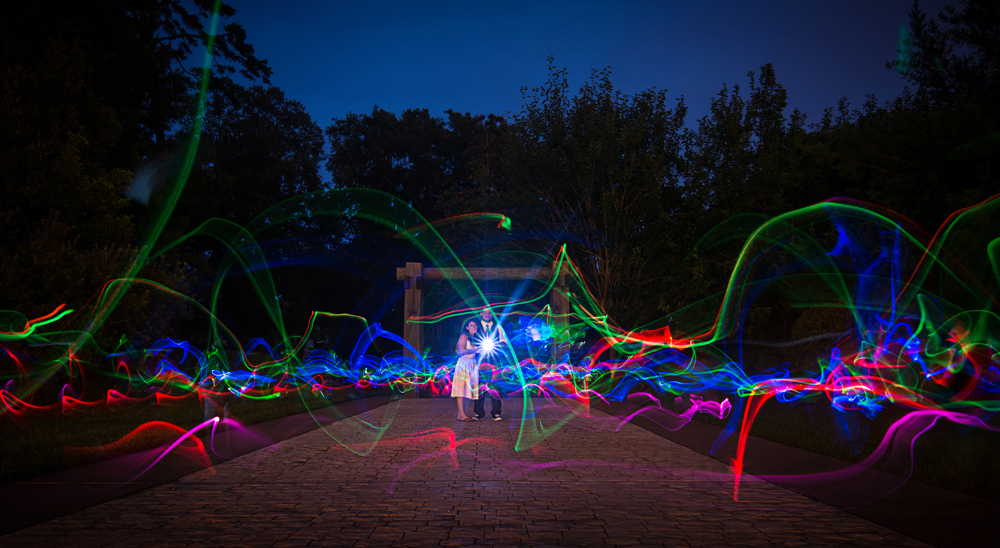Glowsticks create light trails for a nighttime photo