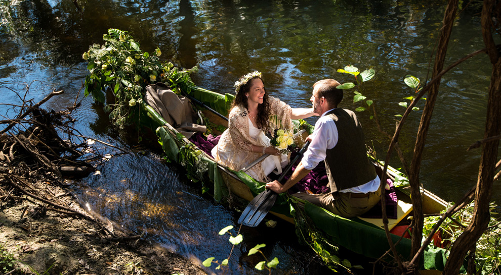 Newly weds take a breather in a canoe on the Hillsborough River near Tampa