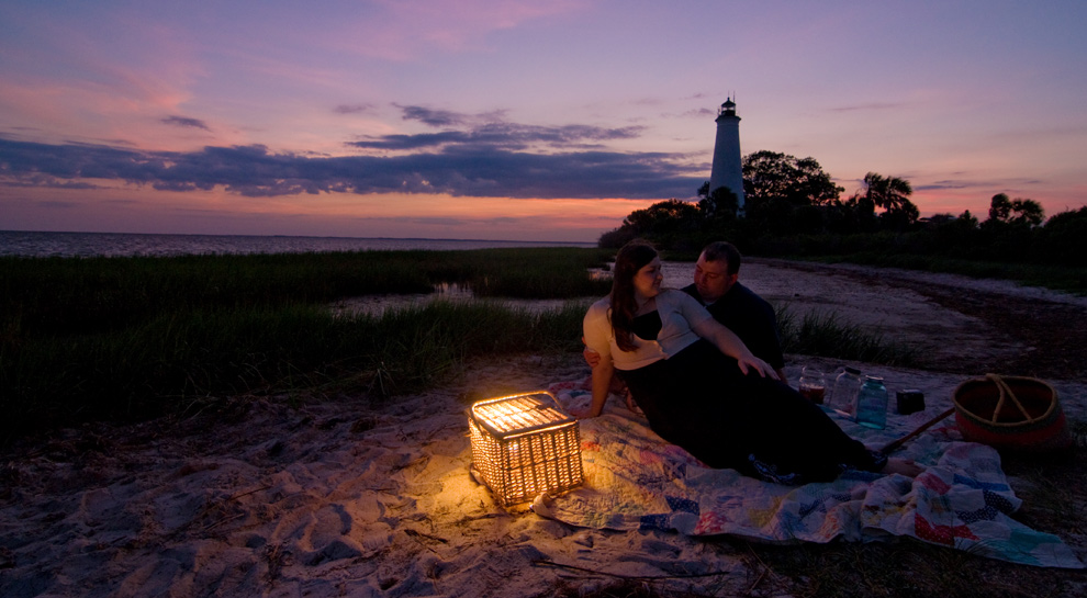 Engagement on the pandhandle coast at St. Marks Wildlife Refuge; lighthouse in the background