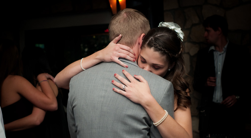 Couple slow dancing during their reception at Z. Bardhi's