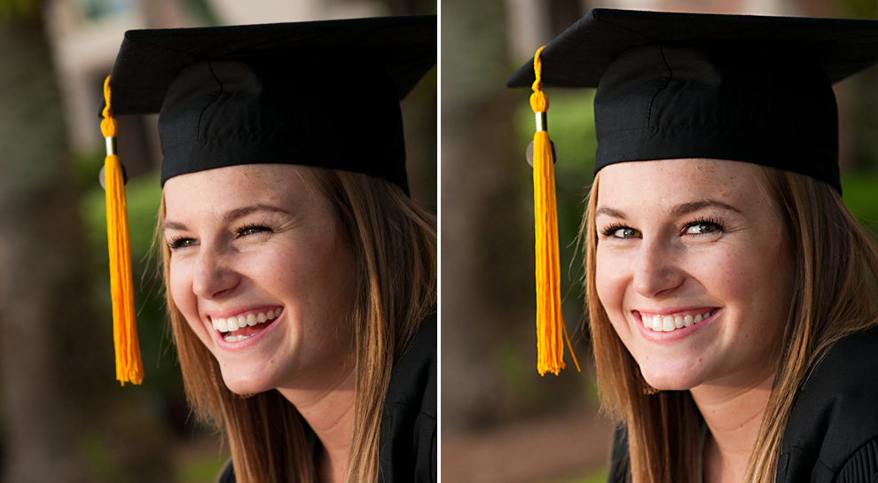 A graduating student gets professional photos taken on the FSU campus
