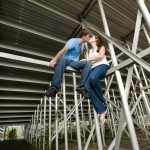 Couple revisits their old high school for engagement photos
