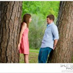 Loving gazes between a couple during an engagement photo shoot